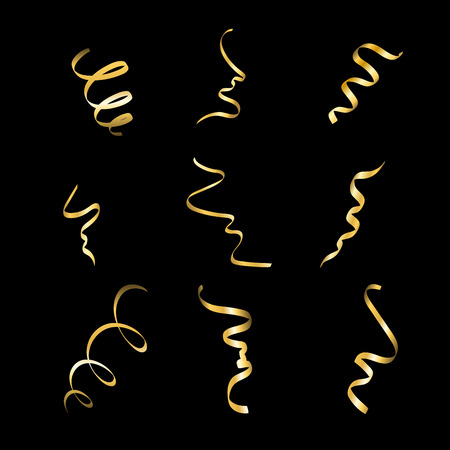 golden ribbon: Gold streamers set. Golden serpentine confetti ribbons, isolated on black background. Decoration for party, birthday celebrate, Christmas carnival, New Year gift. Festival decor. Vector illustration