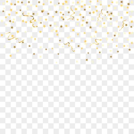 Or étoiles confetti célébration, isolé sur fond transparent. Tomber décoration abstraite d'or pour la fête, anniversaire célébrer, événement anniversaire, de fête. décoration festival. Vector illustration Banque d'images - 65029398