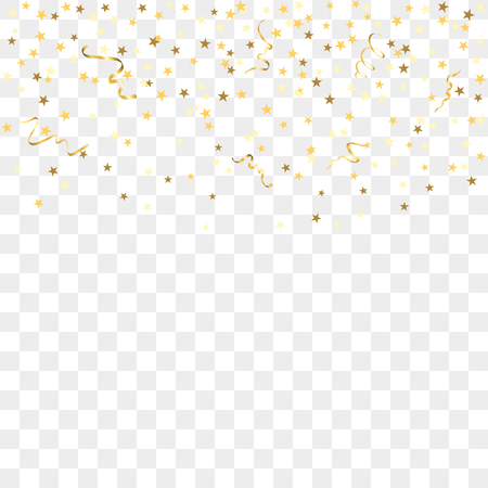 Gold star confetti celebration, isolated on transparent background. Falling golden abstract decoration for party, birthday celebrate, anniversary event, festive. Festival decor. Vector illustration