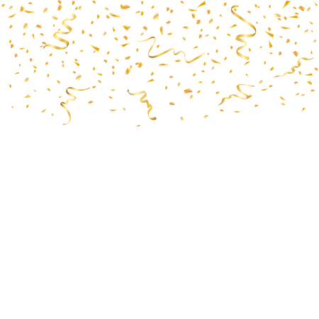 Gold confetti celebration isolated on white background. Falling golden abstract decoration for party, birthday celebrate, anniversary or Christmas, New Year. Festival decor. Vector illustration