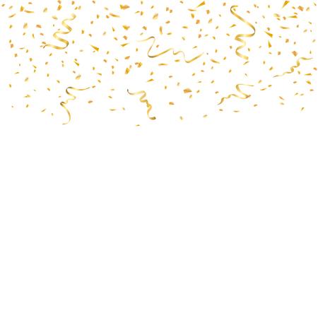 Celebración de confeti de oro aislada sobre fondo blanco. La caída de la decoración abstracta de oro para el partido, cumpleaños celebrar, aniversario o Navidad, año nuevo. Decoración del festival. Ilustración vectorial