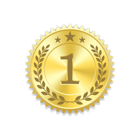Seal award goud icoon. Lege medaille met lauwerkrans, geïsoleerd op een witte achtergrond. Gouden embleem. Symbool van zekerheid, winnaar, garantie en beste label, premium, kwaliteit. vector illustratie Stockfoto - 65031865