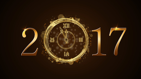 countdown: Happy New Year background with magic gold clock countdown. Golden numbers 2017. Christmas night design light and glitter. Symbol of wish, celebration. Luxury greeting decoration. Vector illustration Illustration