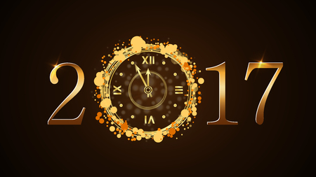 Happy New Year background with magic gold clock countdown. Golden numbers 2017. Christmas night design light and glitter. Symbol of wish, celebration. Luxury greeting decoration. Vector illustration Illustration