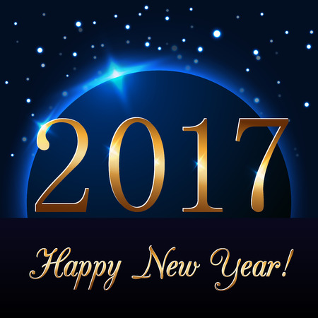 golden globe: Happy New Year background with magic gold rain and globe. Golden numbers 2017 on horizon. Christmas planet design light, glow and sparkle, glitter. Symbol of wish, celebration. Vector illustration