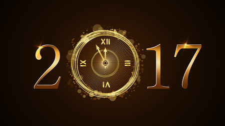 Happy New Year background with magic gold clock countdown. Golden numbers 2017. Christmas night design light and glitter. Symbol of wish, celebration. Luxury greeting decoration. Vector illustration