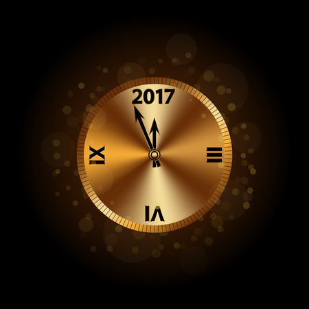Gold Christmas magic clock background. Golden shiny design with sparkles and glitter. Decoration for card, greeting. Symbol of Happy New Year 2017 holiday, countdown. Vector illustration Illustration