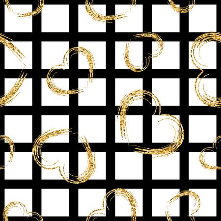 corazones del grunge de oro sin patrón. brillo del oro y negro de la plantilla. Resumen de textura. el diseño de Valentin retro para la tarjeta, papel pintado, embalaje, textil, tela. Ilustración del vector