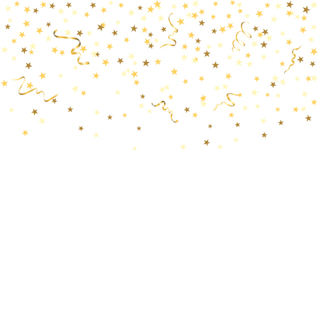 Gold star confetti celebration, isolated on white background. Falling golden abstract decoration for party, birthday celebrate, anniversary or event, festive. Festival decor. Vector illustration