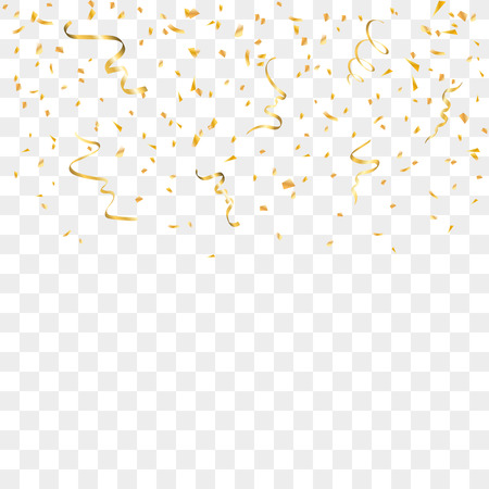 Gold confetti celebration isolated on transparent background. Falling golden abstract decoration for party, birthday celebrate, anniversary or Christmas, New Year. Festival decor Vector illustration Zdjęcie Seryjne - 65039039