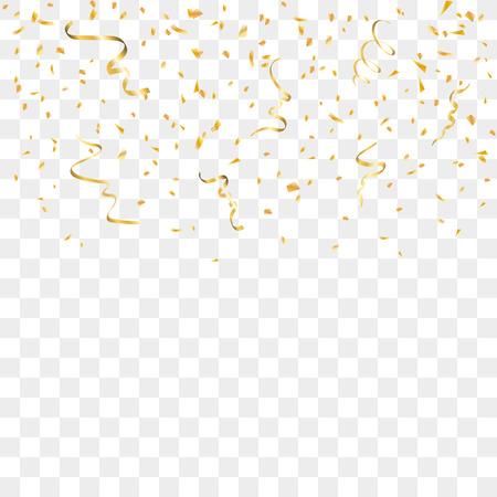 Gouden confetti geïsoleerd op een transparante achtergrond. Dalende gouden abstracte decoratie voor partij, verjaardag, jubileum of Kerstmis, Nieuwjaar. Festival decor Vector illustratie