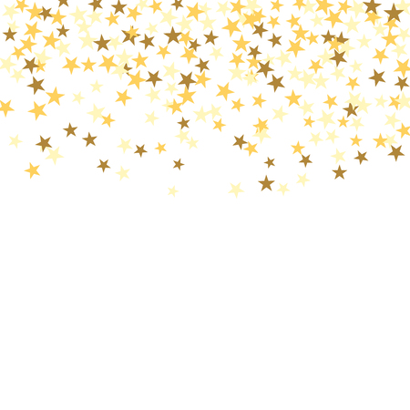 Gold star confetti celebration isolated on white background. Falling golden abstract decoration for party, birthday celebrate, anniversary or Christmas, New Year. Festival decor. Vector illustration