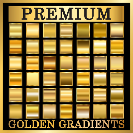 Gold texture in frame set. Collection golden gradient smooth material background. Square textured bright metal shiny. Metallic blank decorative isolated pattern. Abstract art. Vector Illustration Vectores