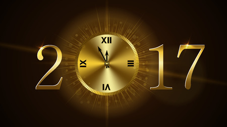 old and new: Happy New Year background with magic gold clock countdown. Golden numbers 2017. Christmas night design light and glitter. Symbol of wish, celebration. Luxury greeting decoration. Vector illustration Illustration