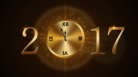 five to twelve: Happy New Year background with magic gold clock countdown. Golden numbers 2017. Christmas night design light and glitter. Symbol of wish, celebration. Luxury greeting decoration. Vector illustration Illustration