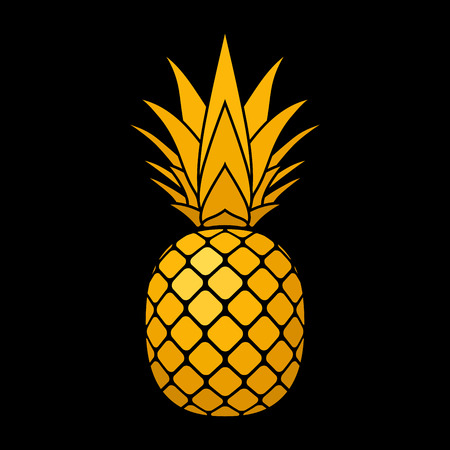 Pineapple gold icon. Tropical fruit, isolated on black background. Symbol of food, sweet, exotic and summer, vitamin, healthy.  3D concept. Design element Vector illustration