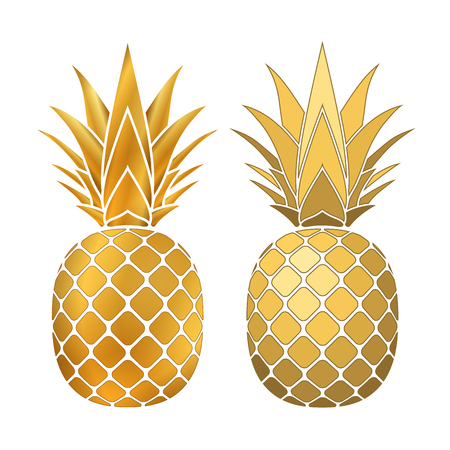 Pineapple gold icon. Tropical fruit, isolated on white background. Symbol of food, sweet, exotic and summer, vitamin, healthy. 3D concept. Design element Vector illustration