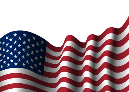 democrat party: American flag, for 4th July, Independence Day celebration, Presidential Election, vote. Patriotic realistic graphics. National design. Symbol the United State of America. Vector illustration