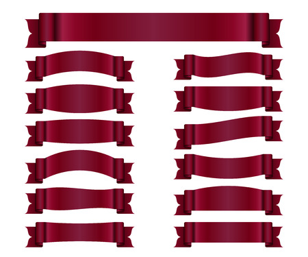 Red ribbons set. Satin blank banners collection. Design label scroll blanks element, isolated on white background. Empty template for greeting or advertising. Symbols decoration. Vector illustration. Illusztráció