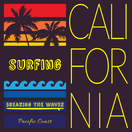 breaking wave: California beach Typography Graphics. Pacific Coast California Surfboard. Surfer emblem. T-shirt Printing Design for sportswear apparel. CA original wear. Concept in vintage style for print production Stock Photo