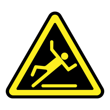 wet floor sign: Wet floor sign. Slippery caution image. Slip and accident fall icon. Warning caution safety label. Yellow pictogram in a black triangle isolated on white background. Stock illustration