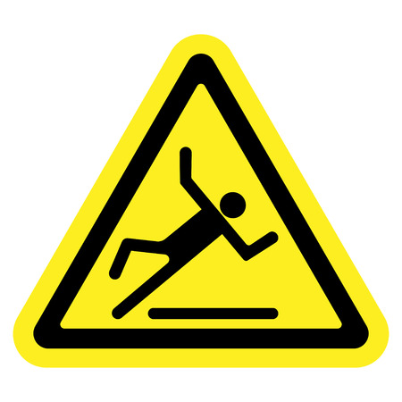 Wet floor sign. Slippery caution image. Slip and accident fall icon. Warning caution safety label. Black pictogram in a yellow triangle isolated on white background. Stock illustration
