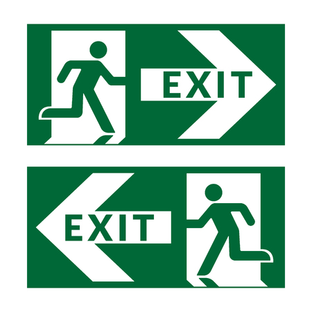 exit door: Exit sign. Emergency fire exit door and exit door. Green icon on white background. Safe condition symbol. Label with human figure and arrow. illustration