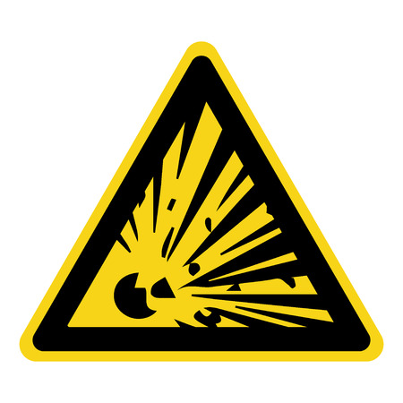 Explosive Hazard Sign. Danger symbol. Yellow icon isolated in black triangle on white background. Warning icon. illustration Stockfoto