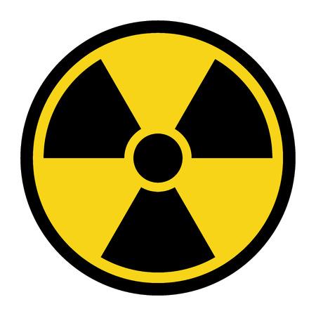 plutonium: Radiation Hazard Sign. Symbol of radioactive threat alert. Black hazard emblem isolated in yellow circle on white background. Danger label. Warning icon. Stock Illustration