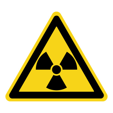 threat: Radiation Hazard Sign. Symbol of radioactive threat alert. Black hazard emblem isolated in yellow triangle on white background. Danger label. Warning icon. Stock Illustration