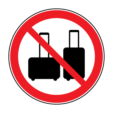 No hand baggage sign. No suitcase icon. No Briefcase button allowed. Portfolio symbol button on white background. Red prohibition emblem. Stop symbol. Stock Illustration