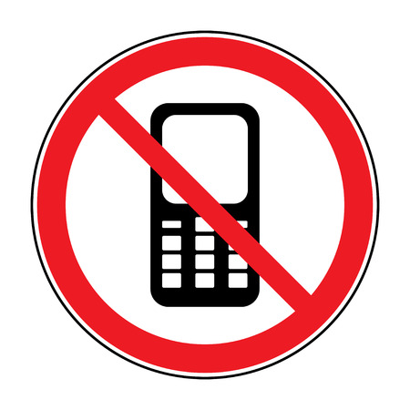 refrain: No cell phone sign. Mobile phone ringer volume mute sign. No smartphone allowed icon. No Calling label on white background. No Phone emblem great for any use. Stock Illustration Stock Photo
