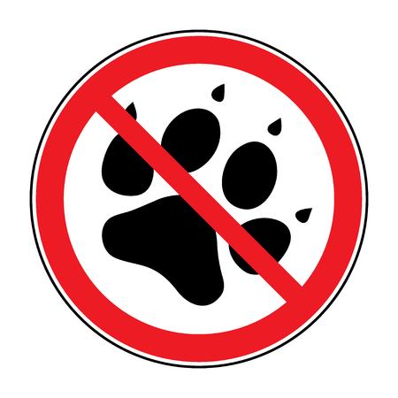 violación: No mascotas sesión. Impresión de la pata con el símbolo de prohibición. Con mascotas no tienen acceso. Icono de ronda sobre fondo blanco. Deja de emblema. ilustración