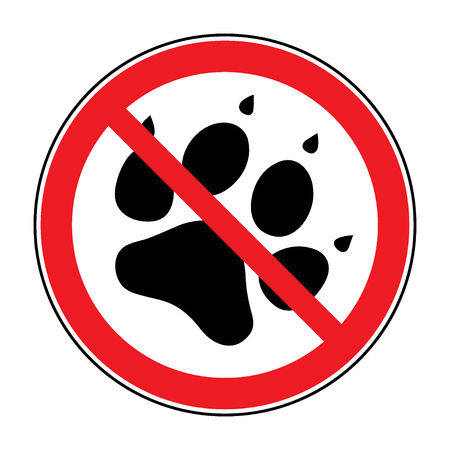 No pets Sign. Paw print with prohibition symbol. With pet no access. Round icon on white background. Stop emblem. illustration Stock Photo