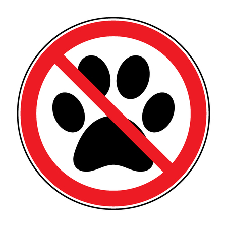 violation: No pets Sign. Paw print with prohibition symbol. With pet no access. Round icon on white background. Stop emblem. illustration Stock Photo