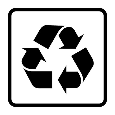 recycle sign of conservation black icon isolated on white background
