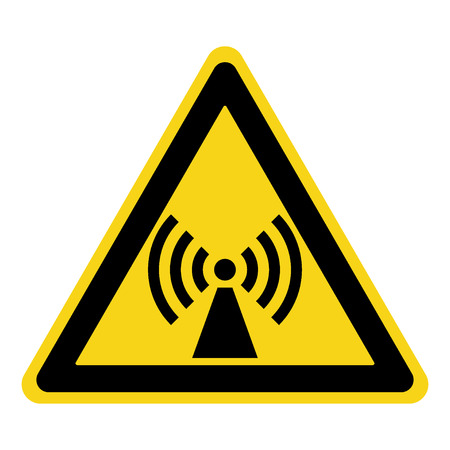 Non-ionizing radiation sign. Attention symbol of non ionized threat alert. Black hazard emblem isolated in yellow triangle on white background. Danger label. Warning icon. Stock Illustration