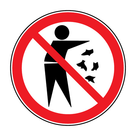 Do Not Litter Sign Silhouette Of A Man Throwing Garbage Isolated