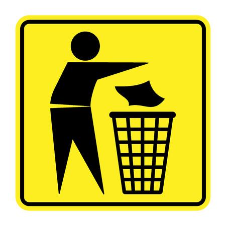 botar basura: no firme la basura. Silueta de un hombre, tirar basura en un contenedor, aislado en fondo amarillo. Ningún símbolo de tirar basura en la plaza. Icono de Información Pública.