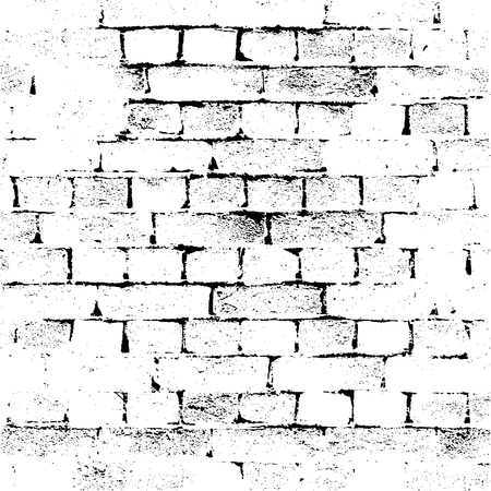 brick texture: Brick Wall silhouette pattern. Noisy white print. Vintage style with detail grunge. Monochrome retro scratch background. Texture for poster, fabric, background and different print production.