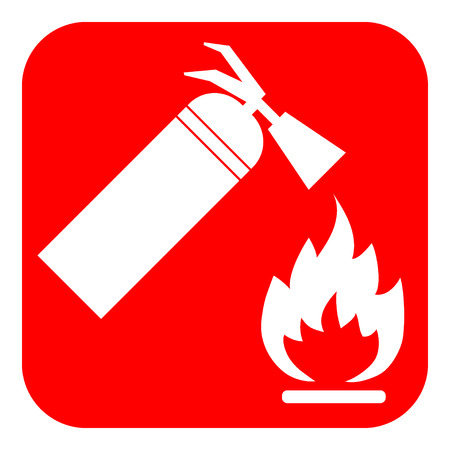 fire extinguisher sign: Fire extinguisher sign. White silhouette of a fire extinguisher and flame on a red background. Attention icon in the red square. You can simply change color and size. Stock Illustration Stock Photo