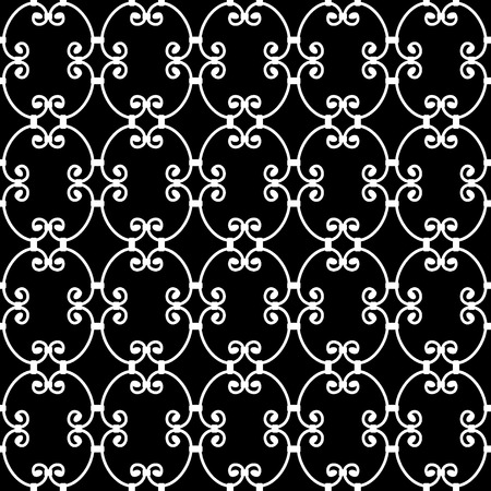 forged: Forged seamless pattern. Elegant red curly forging on white background. Openwork metal fence design. Modern style for wallpaper, wrapping, fabric, background, apparel, other print production.