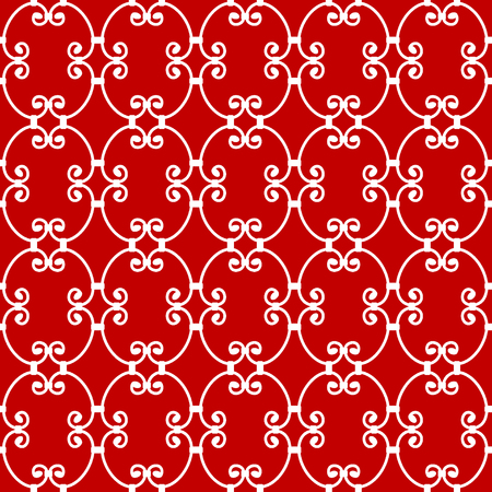 Forged seamless pattern. Elegant red curly forging on white background. Openwork metal fence design. Modern style for wallpaper, wrapping, fabric, background, apparel, other print production.