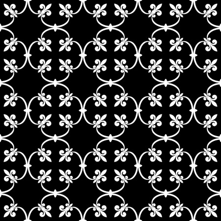 forged: Forged seamless pattern of white fleur-de-lis on a black background. Openwork metal fence design. Modern style for wallpaper, wrapping, fabric, background, apparel, other print production. Stock Photo