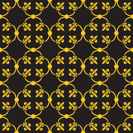 forged: Forged seamless pattern of gold fleur-de-lis on a gray background. Openwork metal fence design. Modern style for wallpaper, wrapping, fabric, background, apparel, other print production. Stock Photo