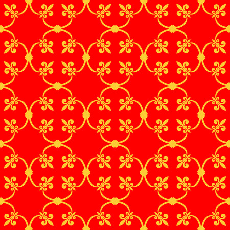 forged: Forged seamless pattern of gold fleur-de-lis on a red background. Openwork metal fence design. Modern style for wallpaper, wrapping, fabric, background, apparel, other print production.