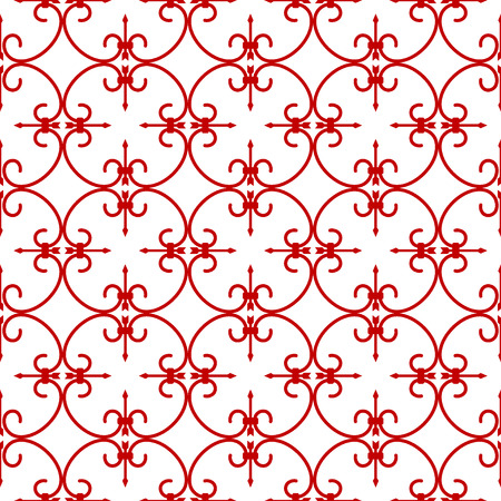 forging: Forged seamless pattern. Elegant red curly forging on white background. Openwork metal fence design. Modern style for wallpaper, wrapping, fabric, background, apparel, other print production.