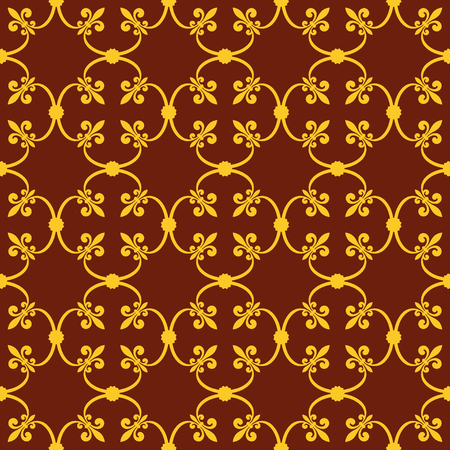 fleurdelis: Forged seamless pattern of gold fleur-de-lis on a brown background. Openwork metal fence design. Modern style for wallpaper, wrapping, fabric, background, apparel, other print production. Stock Photo