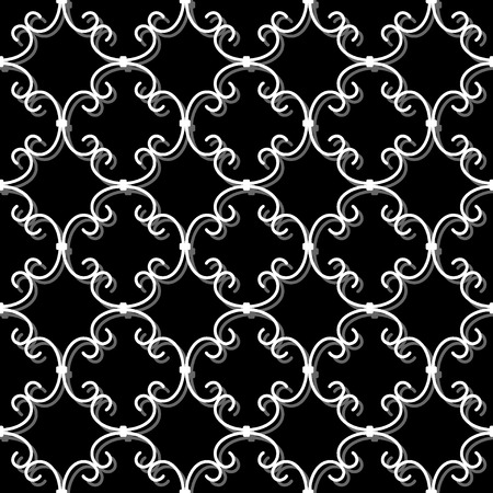 forging: Forged seamless pattern. Volume white curly forging on black background. Openwork metal fence design. Modern style for wallpaper, wrapping, fabric, background, apparel, other print production. Stock Photo