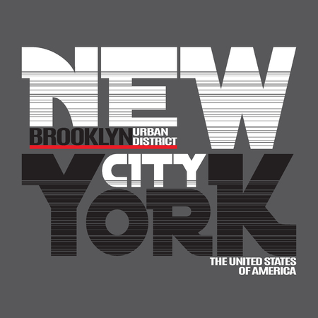 ny: New York city Typography Graphics. Fashion stylish printing design for sportswear apparel. NY original wear. Brooklyn district of NYC. Concept in modern style for different print production.